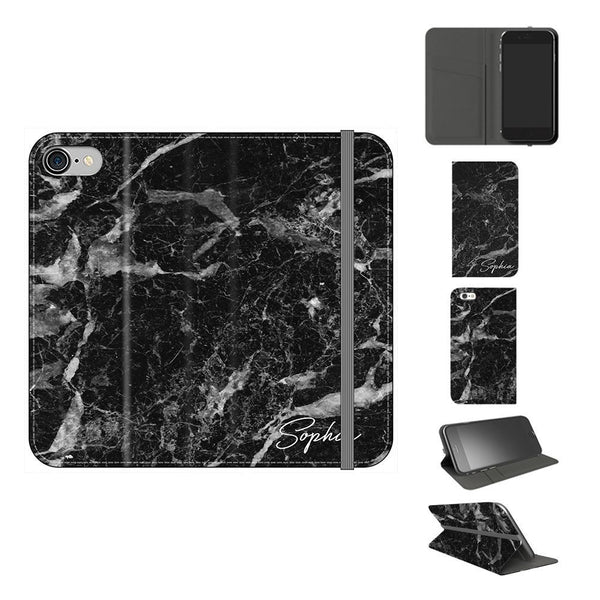 Personalised Black Stone Marble Initials iPhone 8 Case