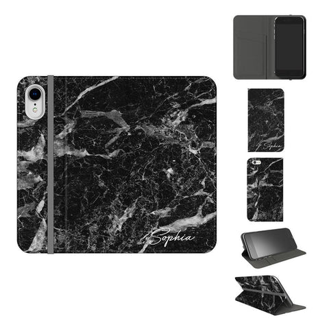 Personalised Black Stone Marble Initials iPhone XR Case