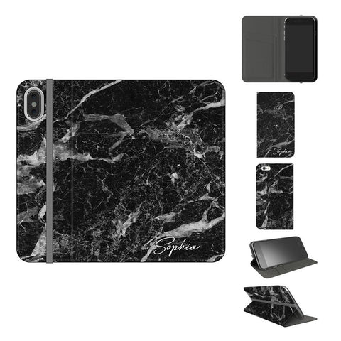 Personalised Black Stone Marble Initials iPhone XS Case
