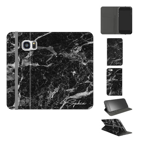 Personalised Black Stone Marble Initials Samsung Galaxy S7 Case