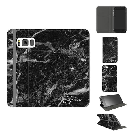 Personalised Black Stone Marble Initials Samsung Galaxy S8 Case
