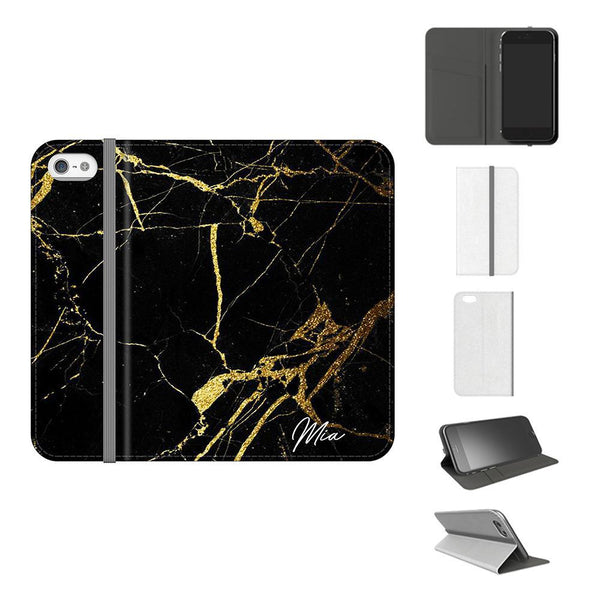 Personalised Black x Gold Marble Initials  iPhone 5/5s/SE Case
