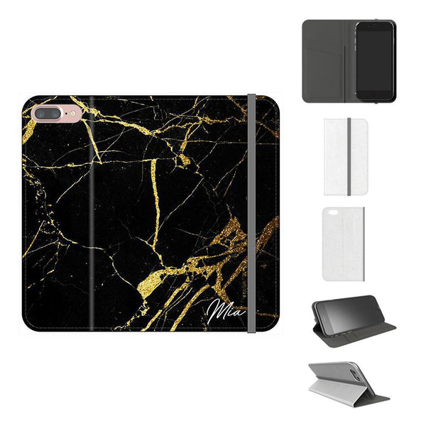 Personalised Black x Gold Marble Initials iPhone 7 Plus Case