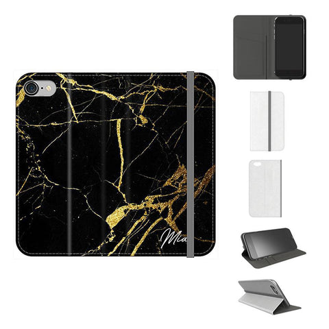 Personalised Black x Gold Marble Initials iPhone 7 Case