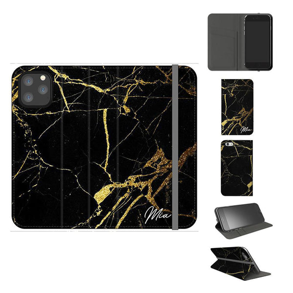 Personalised Black x Gold Marble Initials iPhone 11 Pro Max Case