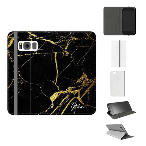 Personalised Black x Gold Marble Initials Samsung Galaxy S8 Case