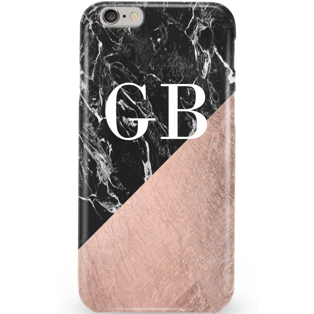 Personalised Black x Rose Gold Marble Initials iPhone 6/6s Case
