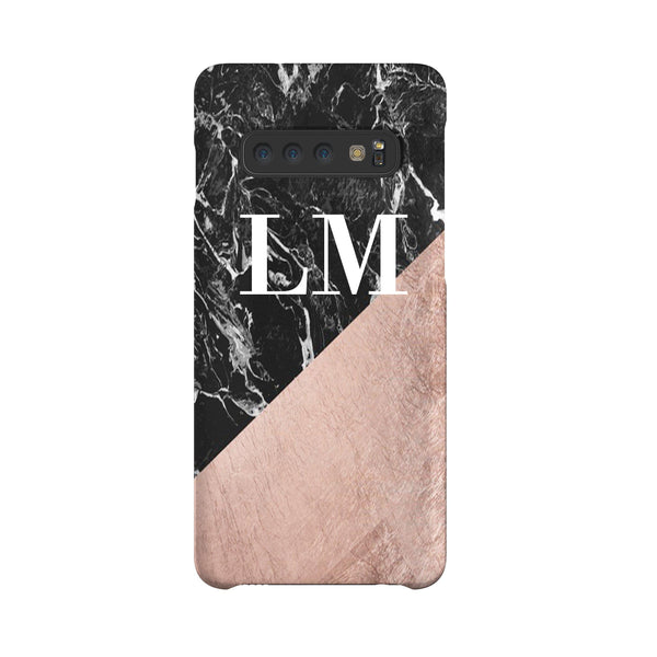 Personalised Black x Rose Gold Marble Samsung Galaxy S10 Case