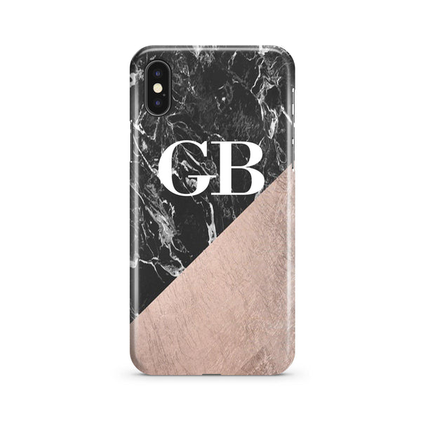 Personalised Black x Rose Gold Marble Initials iPhone XS Case