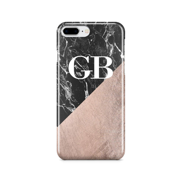 Personalised Black x Rose Gold Marble Initials iPhone 8 Plus Case