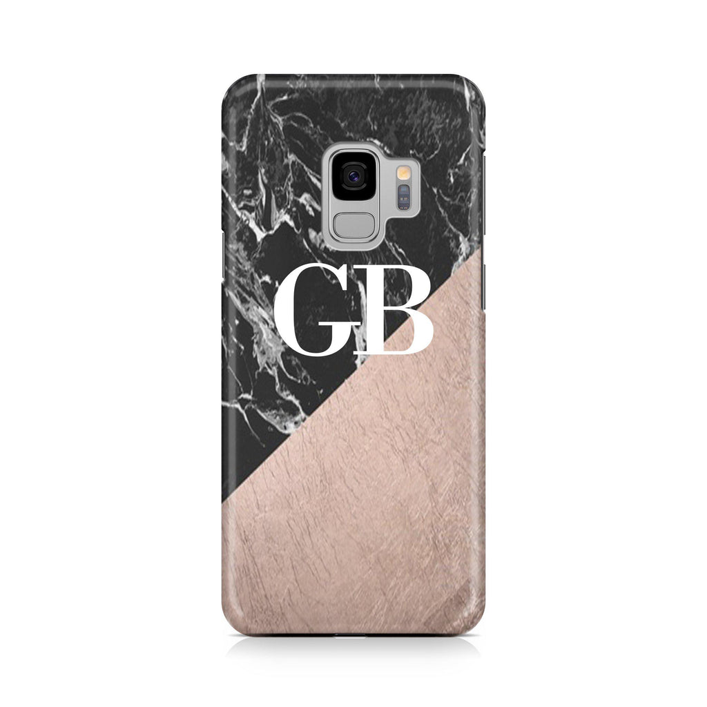 separation shoes e1310 56d17 Personalised Black x Rose Gold Marble Initials Samsung Galaxy S9 Case