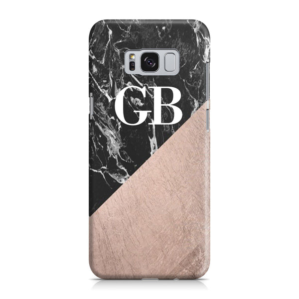 Personalised Black x Rose Gold Marble Initials Samsung Galaxy S8 Case