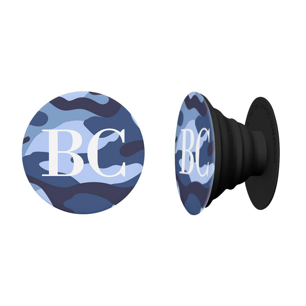 Personalised Blue Camouflage Initials Phone Grip