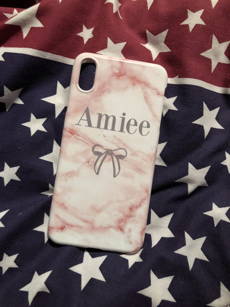 Personalised Cotton Candy Bow Marble Initials iPhone XR Case