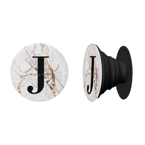 Personalised Cracked Marble Name Initials Phone Grip