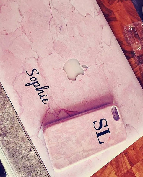 Personalised Pink Marble initials iPhone X Case