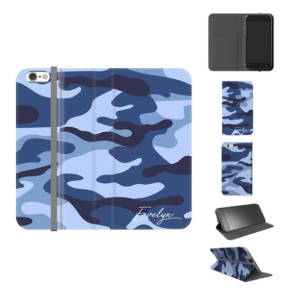 Personalised Cobalt Blue Camouflage Initials iPhone 6 Plus/6s Plus Case
