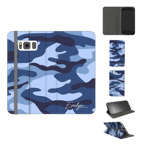 Personalised Cobalt Blue Camouflage Initials Samsung Galaxy S8 Case