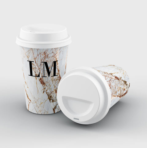Personalised Cracked Marble Initials Reusable Coffee Cup