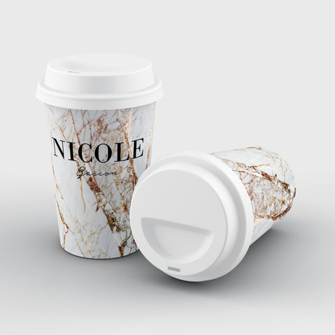 Personalised Cracked Marble Name Reusable Coffee Cup