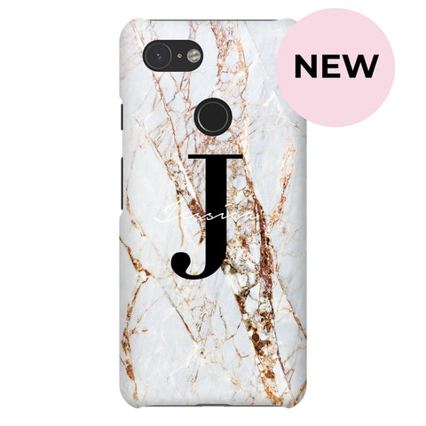 Personalised Cracked Marble Name Initials Google Pixel 3 Case