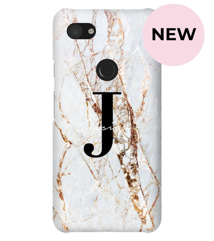 Personalised Cracked Marble Name Initials Google Pixel 3a XL Case