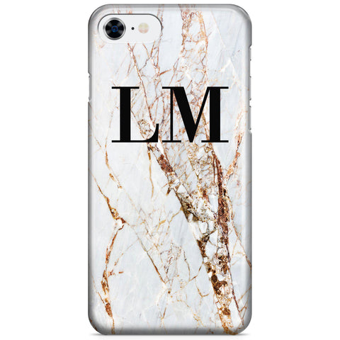Personalised Cracked Marble Initials iPhone SE Case
