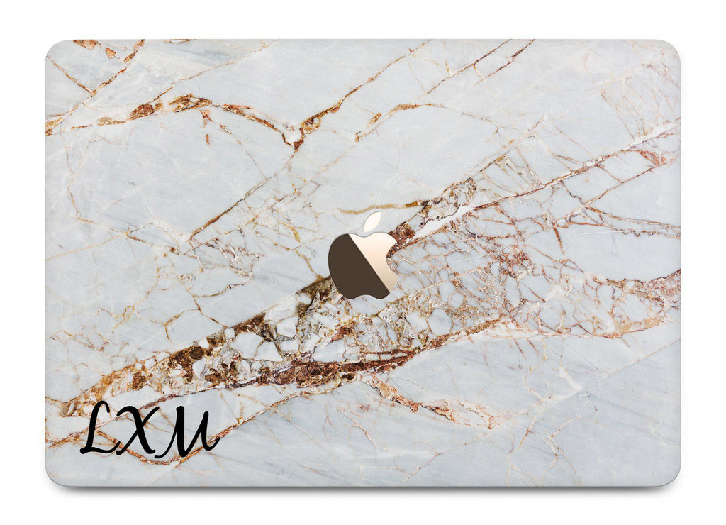 Personalised Cracked Marble Initials MacBook Case