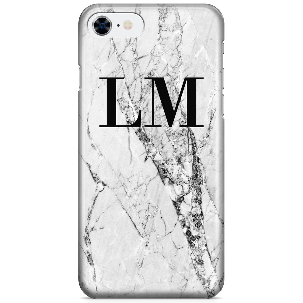 Personalised Cracked White Marble Initials iPhone 8 Case