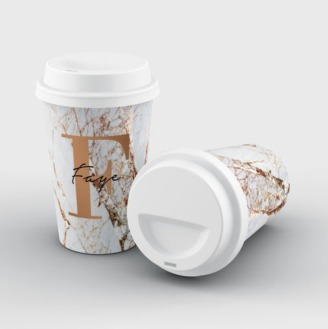 Personalised Cracked Marble Bronze Initials Reusable Coffee Cup