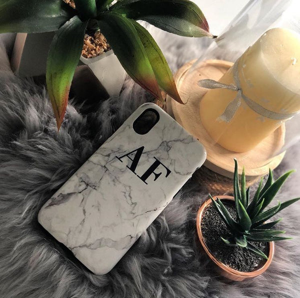 Personalised White Calacatta Marble initials iPhone X Case