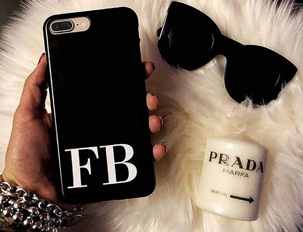 Personalised Black x White Initials iPhone XS Case