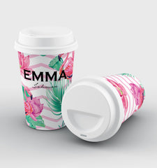 Personalised Flamingo Name Reusable Coffee Cup