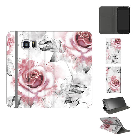 Personalised Floral Rose Initials Samsung Galaxy S7 Case