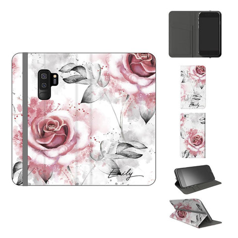 Personalised Floral Rose Initials Samsung Galaxy S9 Plus Case