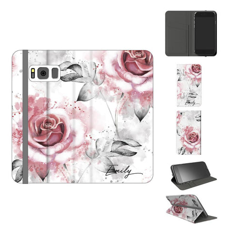 Personalised Floral Rose Initials Samsung Galaxy S8 Case