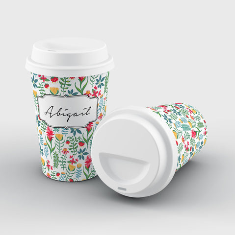 Personalised Flowers Name Reusable Coffee Cup