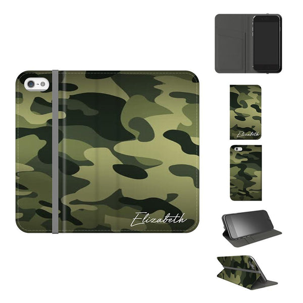 Personalised Green Camouflage Initials iPhone 5/5s/SE Case