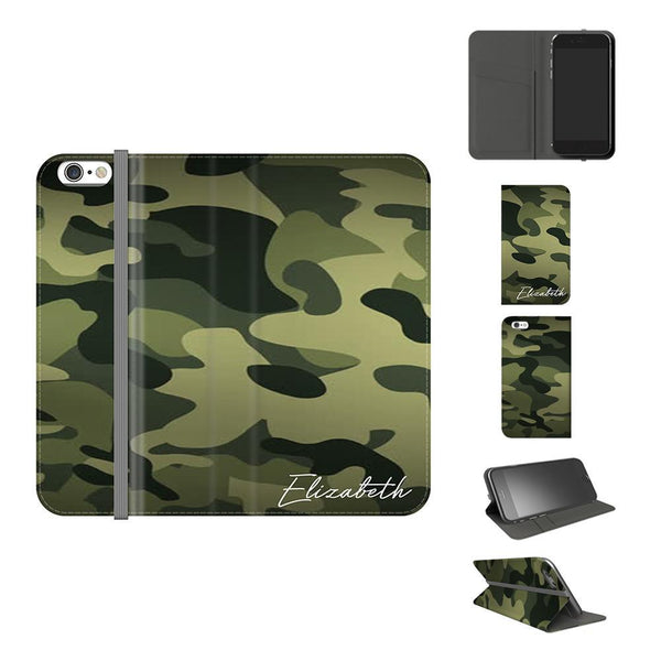Personalised Green Camouflage Initials iPhone 6/6s Case