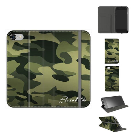 Personalised Green Camouflage Initials iPhone 7 Case