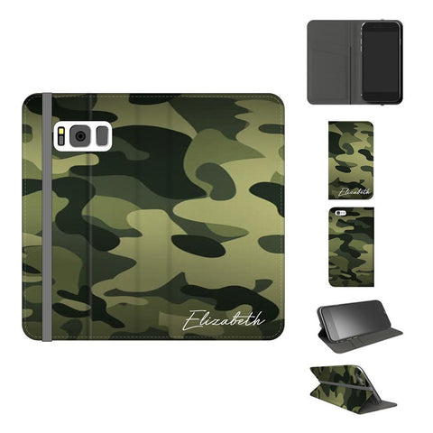 Personalised Green Camouflage Initials Samsung Galaxy S8 Case