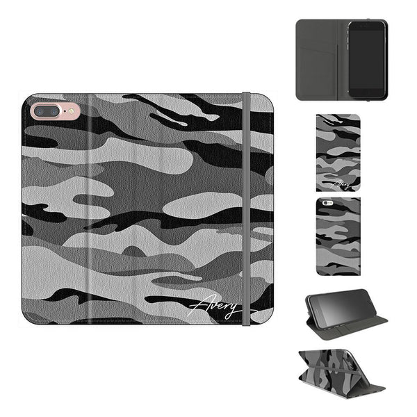 Personalised Grey Camouflage Initials iPhone 7 Plus Case