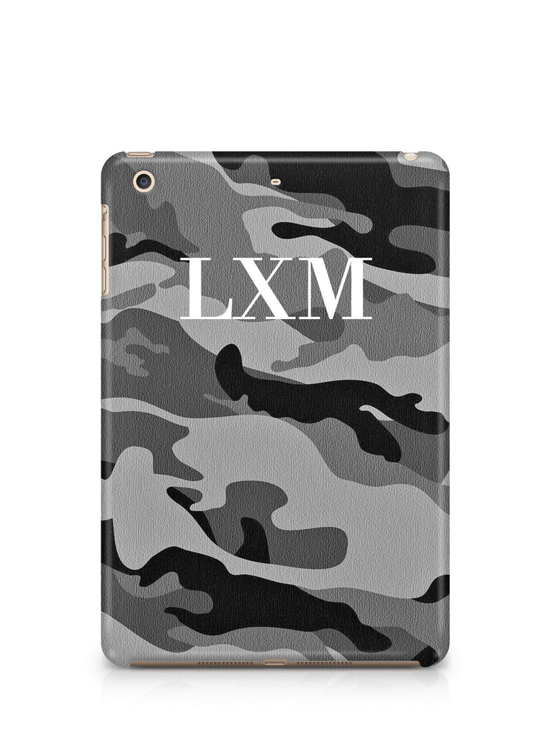 Personalised Grey Camouflage x White Initials iPad Case