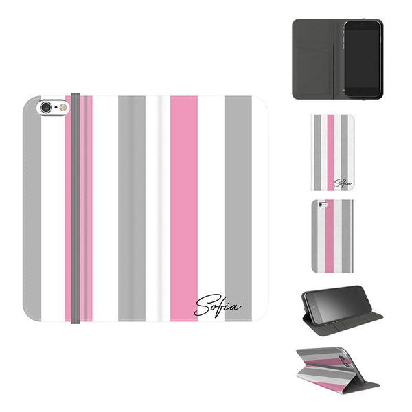 Personalised Pink x Grey Stripe iPhone 6 Plus/6s Plus Case