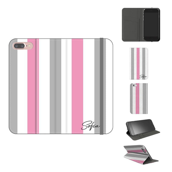 Personalised Pink x Grey Stripe iPhone 7 Plus Case