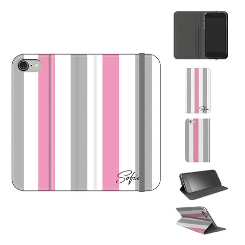 Personalised Pink x Grey Stripe iPhone 8 Case