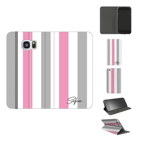 Personalised Pink x Grey Stripe Samsung Galaxy S7 Case