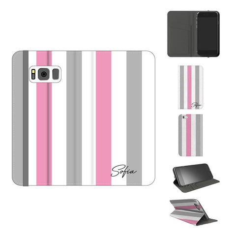 Personalised Pink x Grey Stripe Samsung Galaxy S8 Plus Case