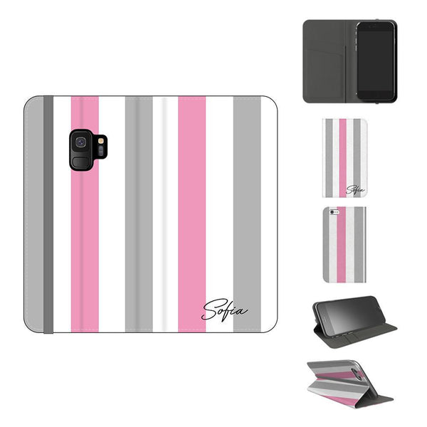 Personalised Pink x Grey Stripe Samsung Galaxy S9 Case