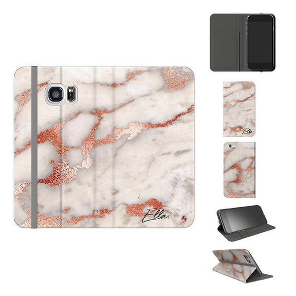 Personalised Grey x Rose Gold Marble Initials Samsung Galaxy S7 Case